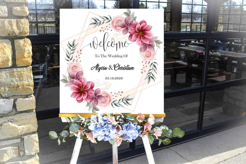 Digital File lovely watercolor floral flower frame Wedding welcome sign
