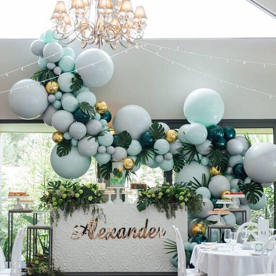 192 pcs Balloons Arch Kit Layer Macaron Pastel Latex Balloon Garland Dark Green Ballon Birthday Wedding Baby Shower Party Decor