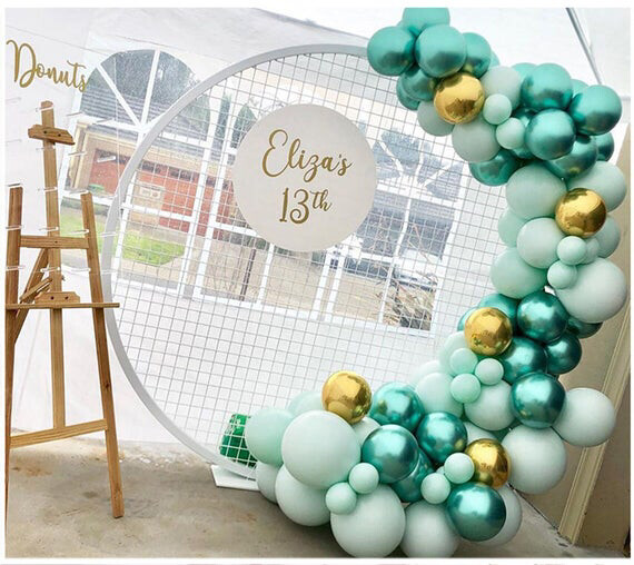 120pcs Chrome Green Balloons Garland Kit Macaron Blue Pastel Balloon Arch 4D Gold Ballon For Wedding Birthday Party Decorations