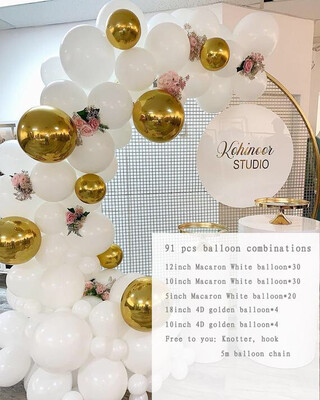 91pcs Gold and White Balloon Garland Balloons Arch Party Supplies Wedding Anniversaire Baby Shower Globos Decoration Birthday