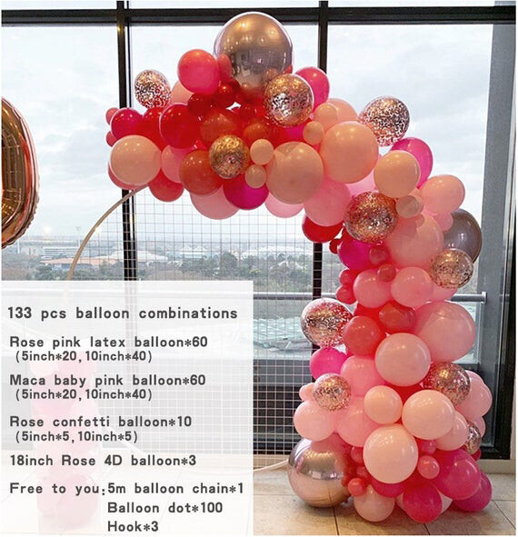 133pcs Pastel Baby Pink Rose Latex Balloons 4D Rose Balloon Garland Arch Kit For Wedding Birthday Baby Shower Party Decorations