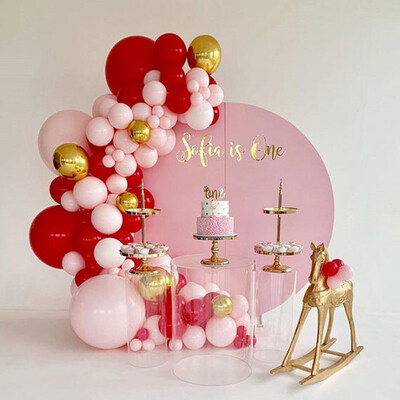 95pcs Baby 1th Happy Birthday Backdrop Party Decoration Balloon Supplies Pink Red Gold Latex Balloons Garland Arch Bay Shower
