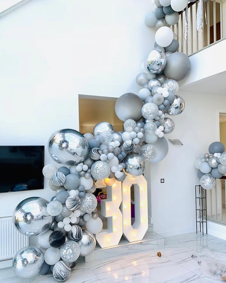 136pcs Agate Balloons Garland Kit Black White Gray Balloon Arch Confetti Globos Birthday Wedding Baby Shower Party Decorations