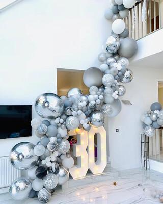 136pcs Agate Balloons Garland Kit Black White Gray Balloon Arch Confetti Globos Birthday Wedding Baby Shower Party Decorations