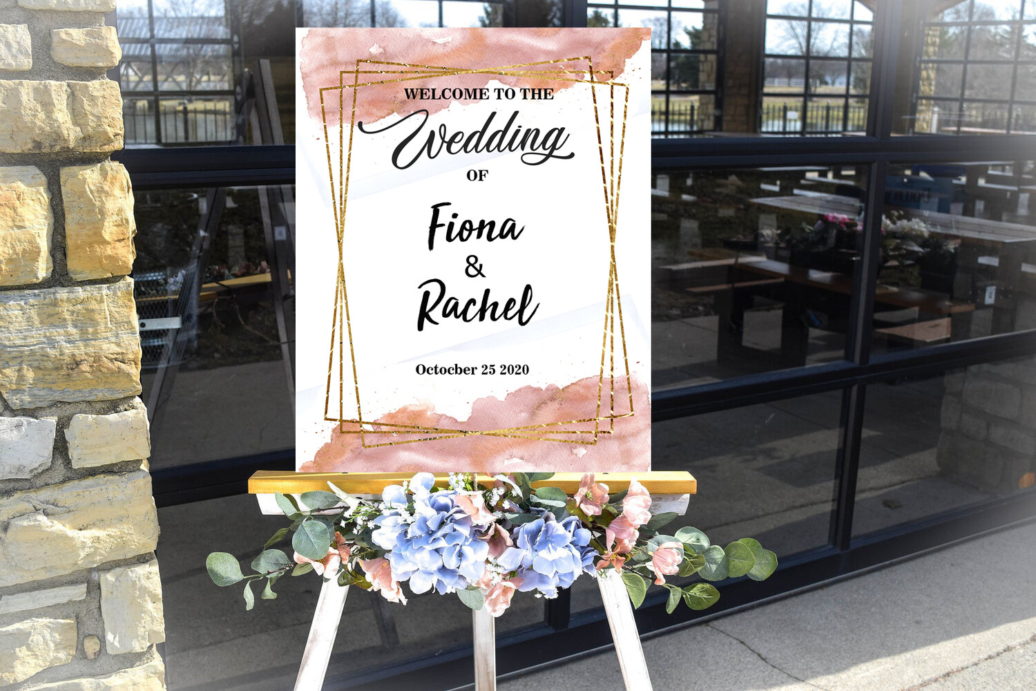 Digital File lovely Pink Brush Wedding frame Wedding welcome sign
