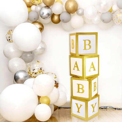 Gold Baby Shower Paperboard Box Baby Shower Boy Girl BabyShower First Birthday Party Decorations Baby Shower Decor Party Favors