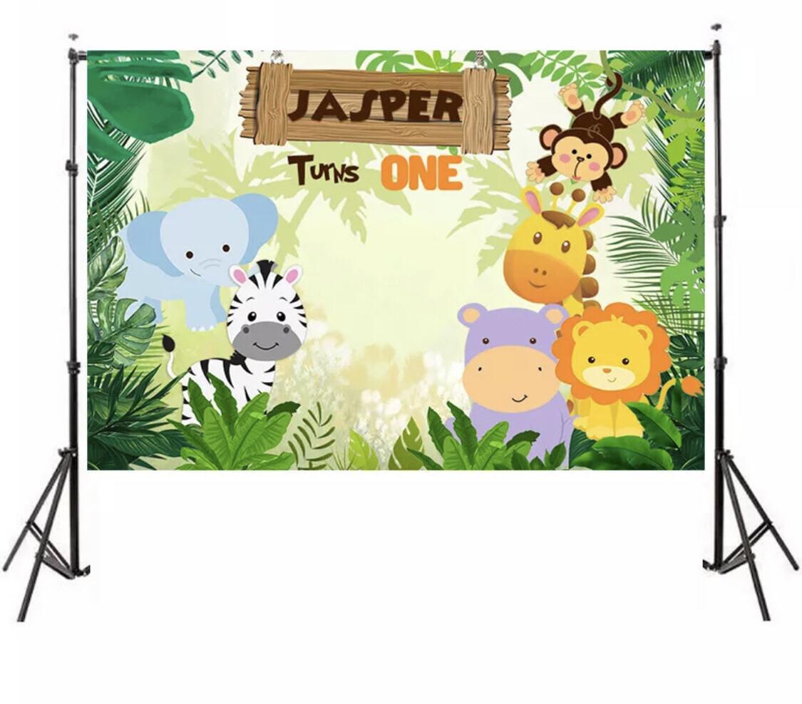 Happy Birthday Backdrop with Jungle Animals Cartoon Style Party Decoration Photography Studio Fund