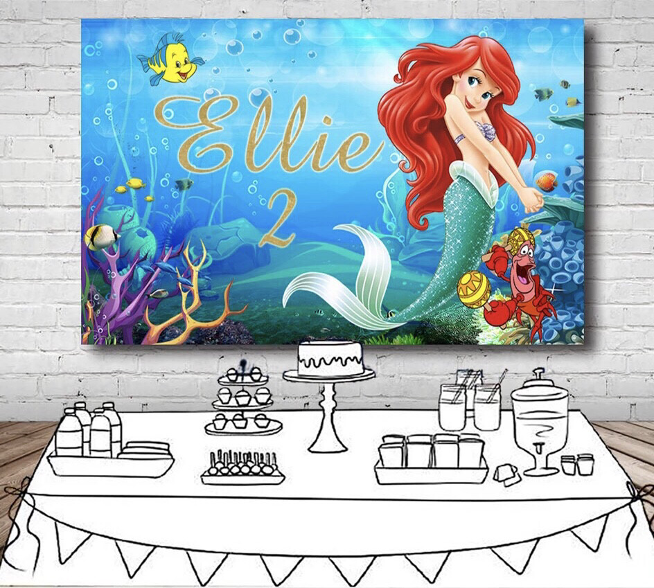 Girls Little Mermaid Photography Backdrop Custom Name Years Under The Sea Fish Bubble Backgrounds For Photo Studio