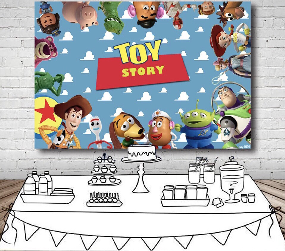 Toy Story Backdrop For Kids Cartoon Character Sky Blue Clouds Wall Photography Backgrounds For Photo Studio
