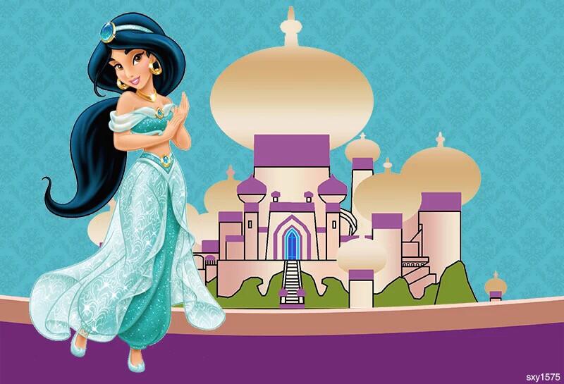Aladdin Jasmine Princess Backdrop For Photo Studio Turquoise Purple Girls Birthday Party Backgrounds Custom