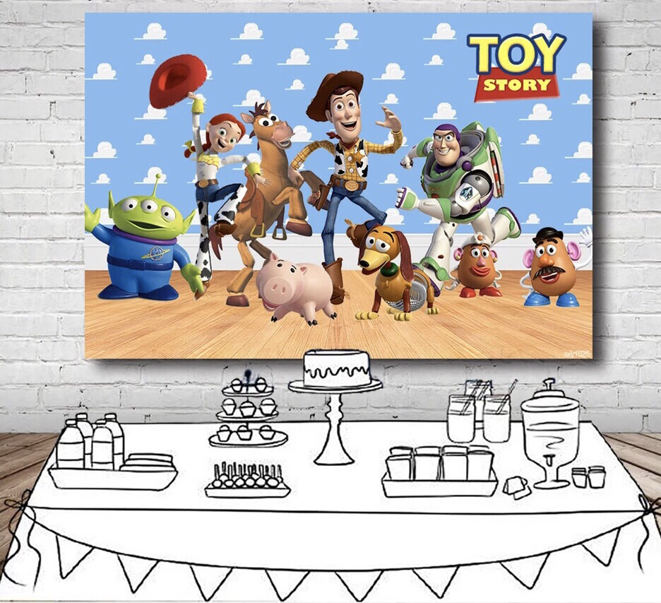 Toy Story Backdrop For Kids Character Sky Blue Clouds Wall Wood Floor Backgrounds For Photo Studio