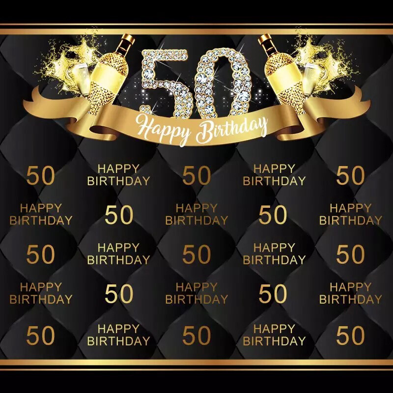 Bling Diamond Happy 50 Birthday Party Backdrop Good Text Black Photography Backgrounds For Photo Studio
