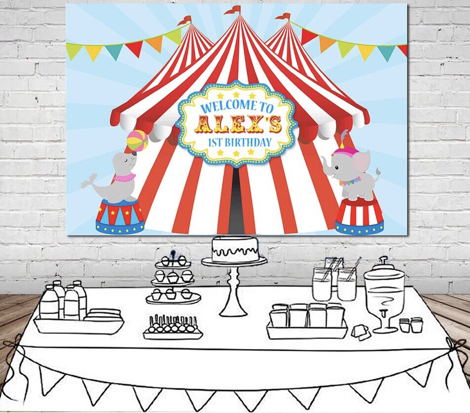 Carnival Circus Party Photography Backdrop Bunting 1st Birthday Party Background