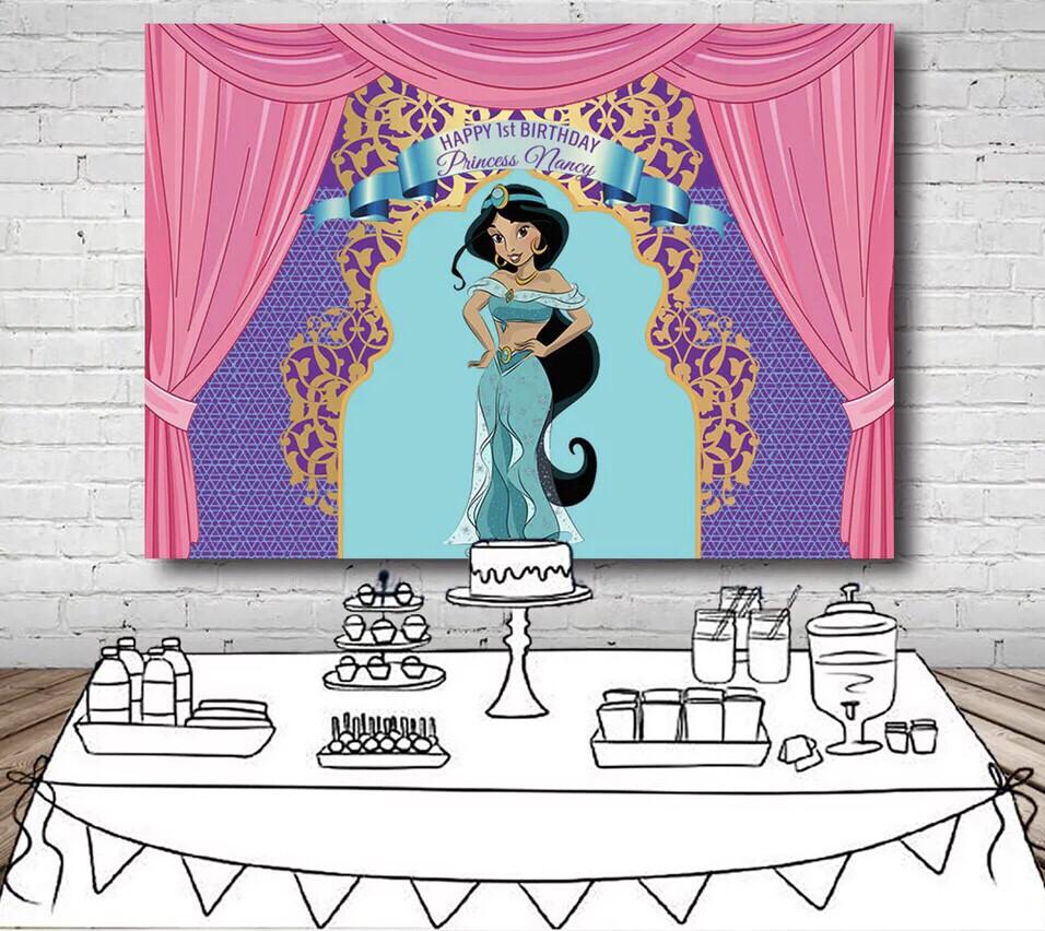 Aladdin Princess Jasmine Backdrop For Photo Studio Pink Curtain Purple Turquoise Birthday Party Backgrounds