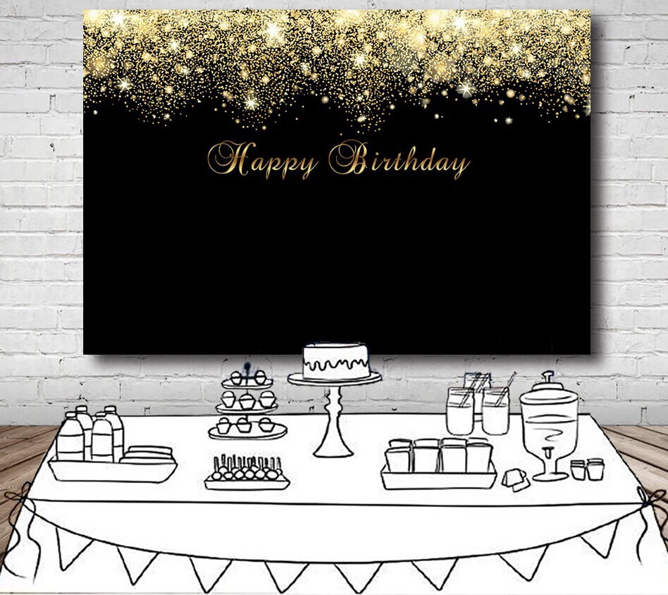 Shiny Gold Glitter Photography Backdrop Black Happy Birthday Party Backgrounds For Photo Studio