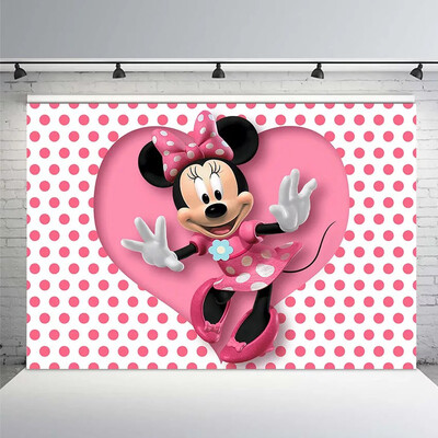Newborn Photocall Pink Minnie Mouse Dance Polka Dots Custom Photo Studio Birthday Photo Background Photography Backdrop