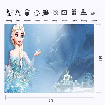 Frozen Elsa Princess with Castle Photographic Backdrop Ice Snowflake Mountain Photo Background For Girl Birthday Party Banner