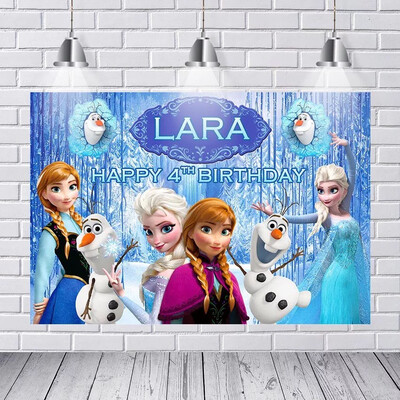Photography Backgrounds Frozen Ice Queen Princess Elsa Children Baby Backdrop Decor Photocall Backdrop Photo Studio Banner