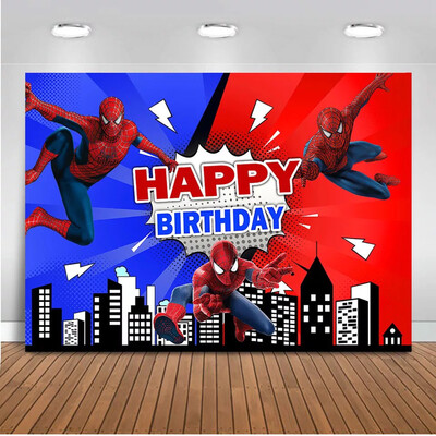 Spiderman backdrop for photography children birthday party decoration cartoon superhero background for photo studio supplies