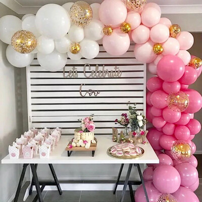 Balloon Garland Arch Pink White Gold Latex air Balloons Pack for baby shower birthday party decor