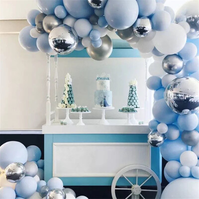 Round Foil Balloon Garland Arch Blue White Latex Balloons Birthday Wedding Decoration Party