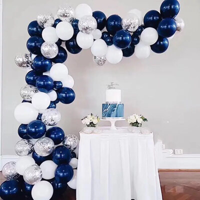 matte navy blue White  Confetti Balloons for Parties,Wedding Birthday Balloons Decorations, Baby Shower