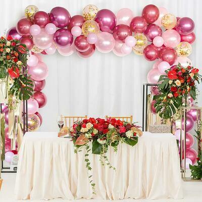 Macaron Pink Red Gold Pastel Latex Balloons arch Kit ,Craft Supplies & Party ,Wedding Balloon,Party Balloon Decoration,Craft Supplies