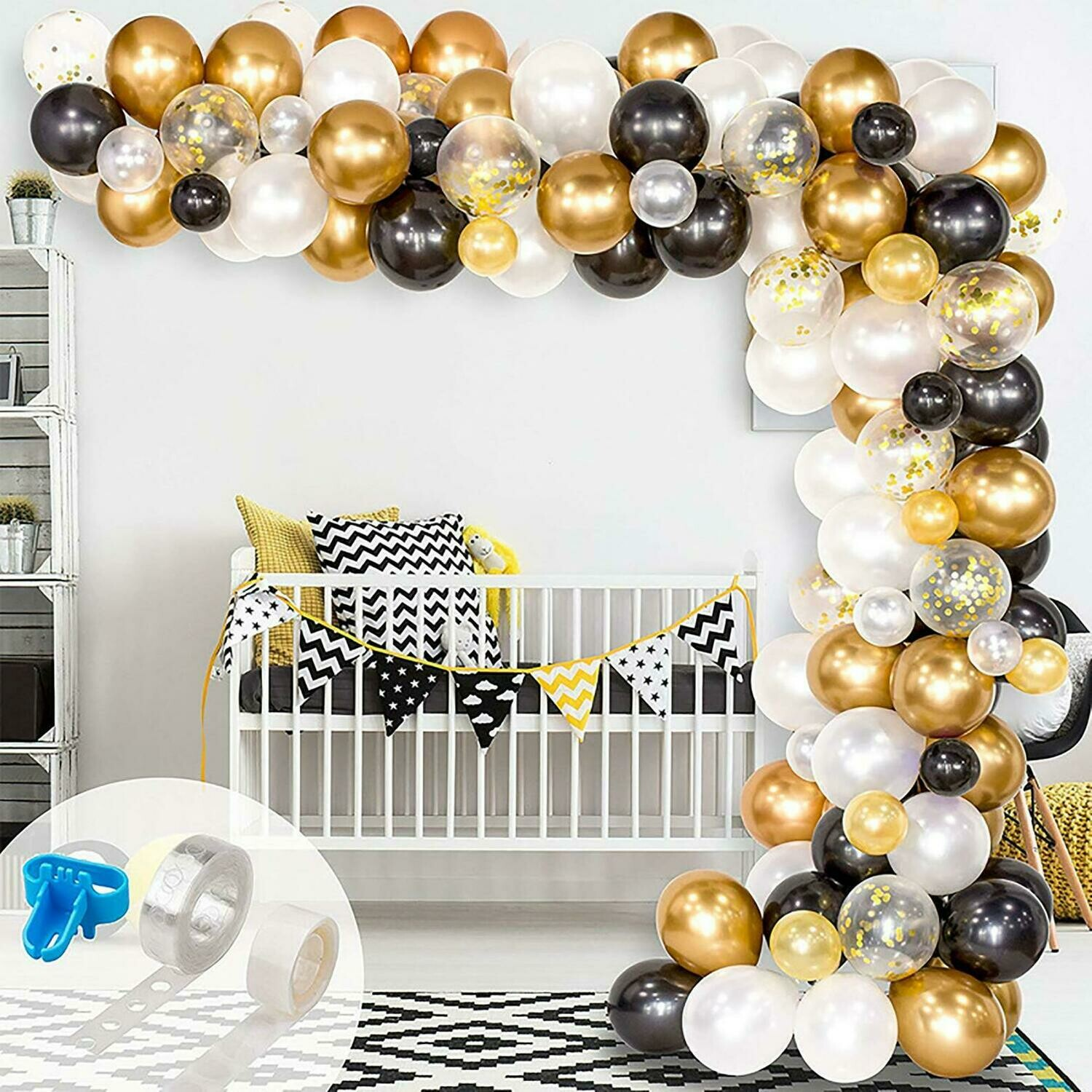 Garland Kit,Balloon Arch, Black White Gold Balloons,Craft Supplies & Party ,Wedding Balloon,Party Balloon Decoration,Craft Supplies