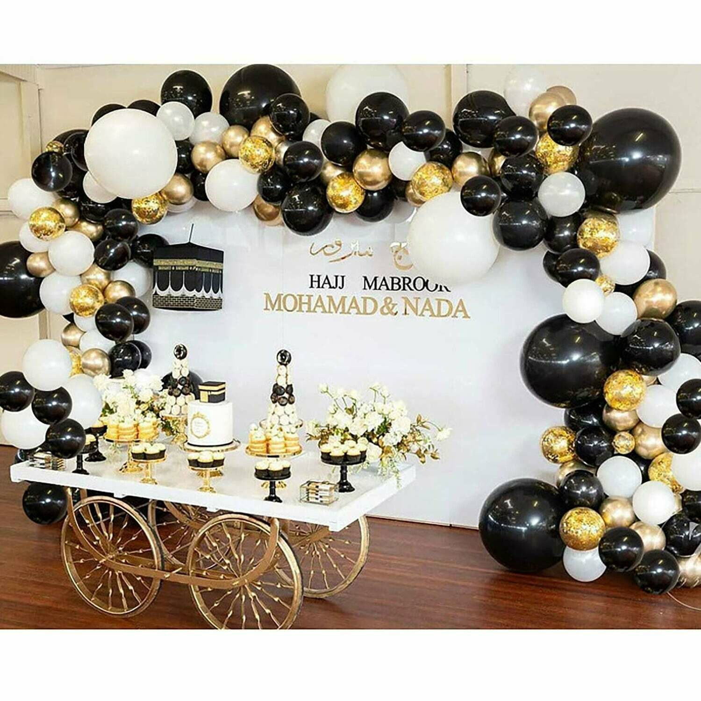 Black White Gold Latex Balloons , Kids Birthday Balloon Arch,Craft Supplies & Party ,Wedding Balloon Kit,Party Balloon Decoration