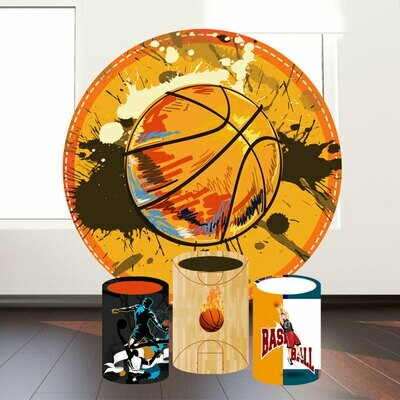 Basketball theme round backdrop and cylinder covers
