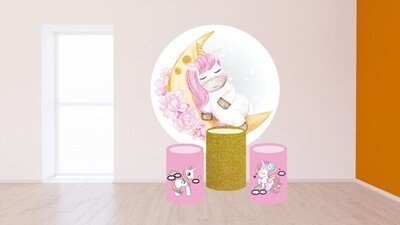 Unicorn theme round backdrop and cylinder covers