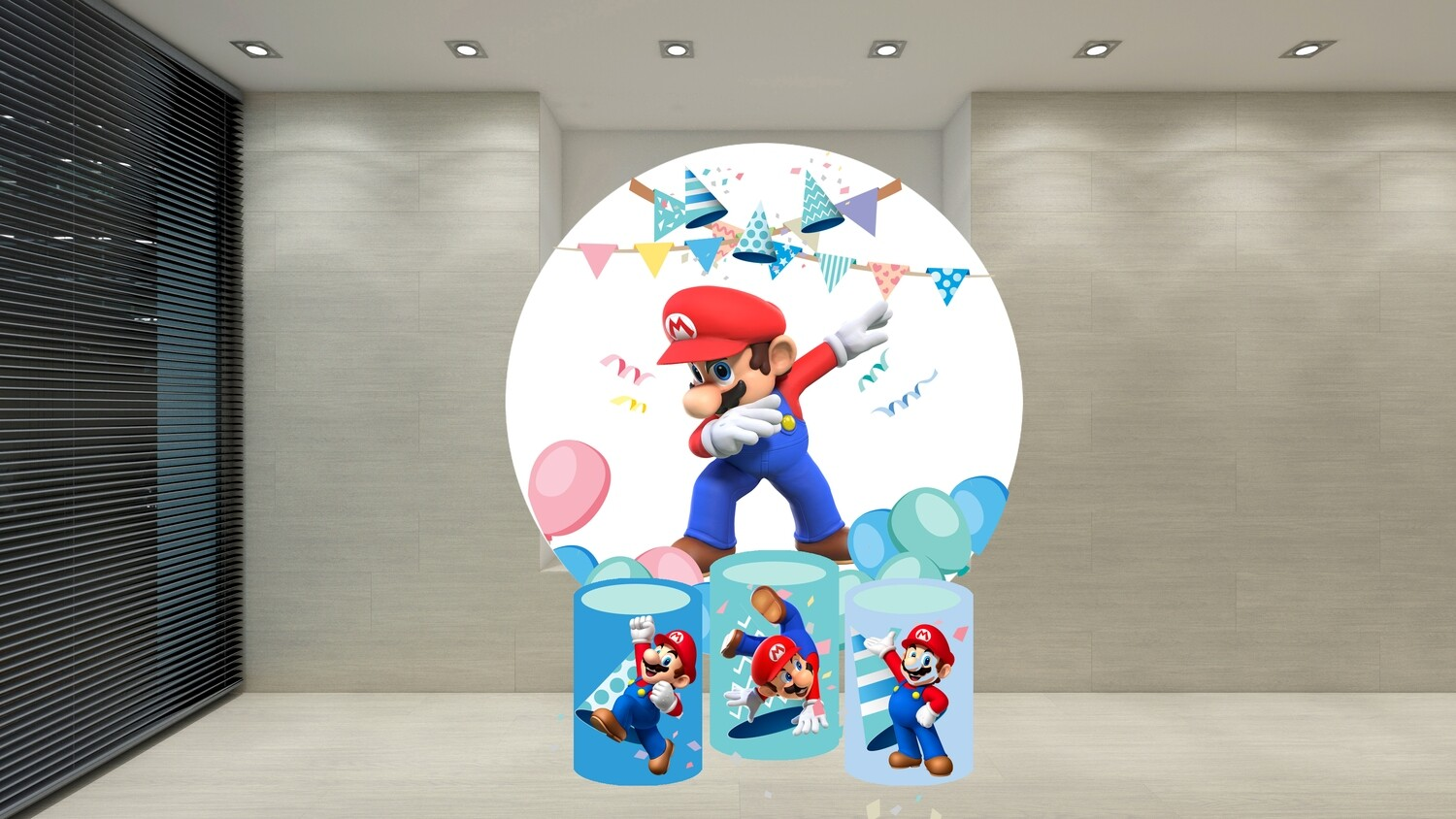 Mario round backdrop and cylinder covers