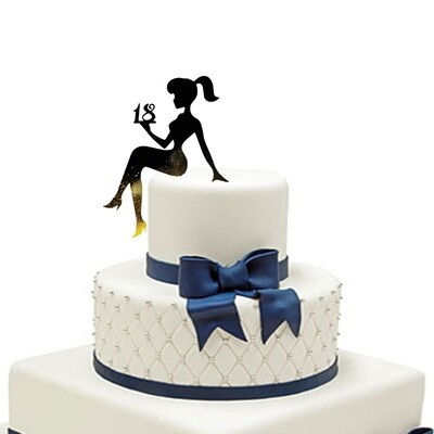 A girl sitting on a cake Cake Topper
