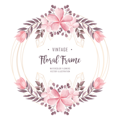Watercolor Pink Flower Floral Decoration With Gold Wedding Frame