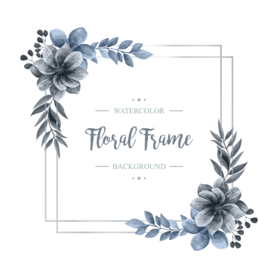 Wedding Watercolor Floral Flower Silver Frame