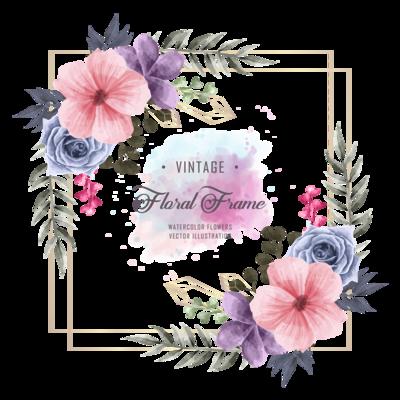 Elegant Wedding Watercolor Floral Frame With Geometric Golden Frame