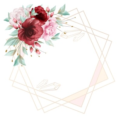 Flowers Border Decoration For Wedding Or Greeting Card Composition
