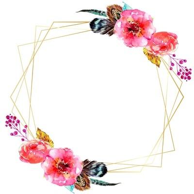 Digital file Colorful Watercolor Floral Frame Multipurpose Card