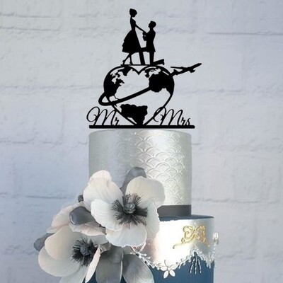 WORLD MAP WEDDING CAKE TOPPER, MR AND MRS TRAVEL WORLD MAP WEDDING CAKE TOPPER, MIXED STYLE WORLD MAP WITH COUPLES CAKE DECOR