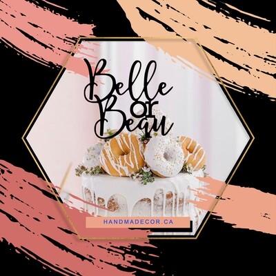 A digital file belle Or Bean cake topper - baby shower cake topper