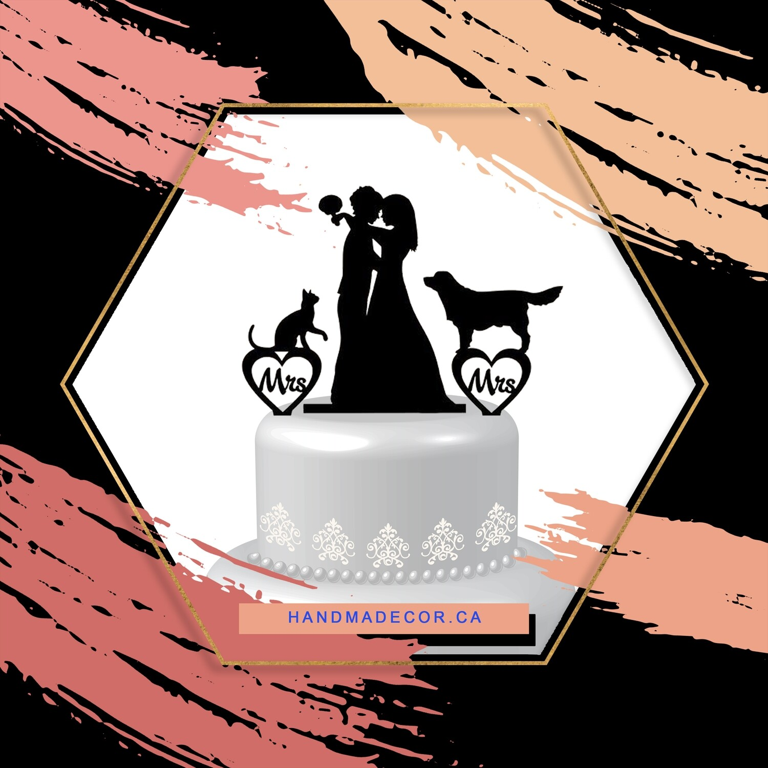 A digital file Lesbian cake topper,lesbian with dog and cat,lesbian wedding cake topper,mrs and mrs cake topper with dog and cat,lesbian silhouette