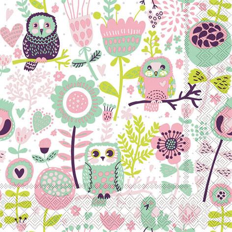 Napkins Floral Owl