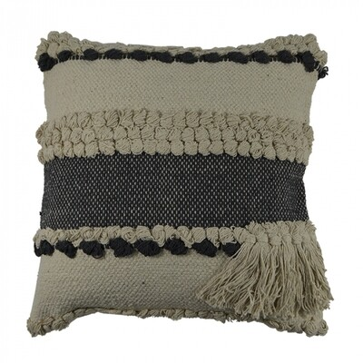 Cotton Grey Tufted Cushion with Tassels