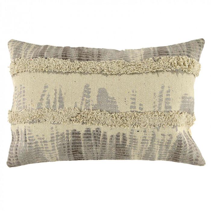 Grey Stroke Tuft Cotton Cushion