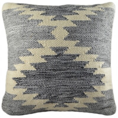 Wool Grey and White Aztec Cushion