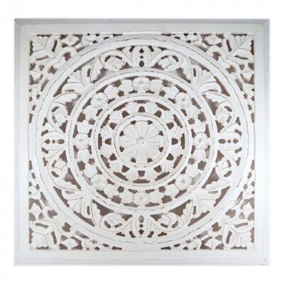 Whitewash Wooden Carved Wall Panel