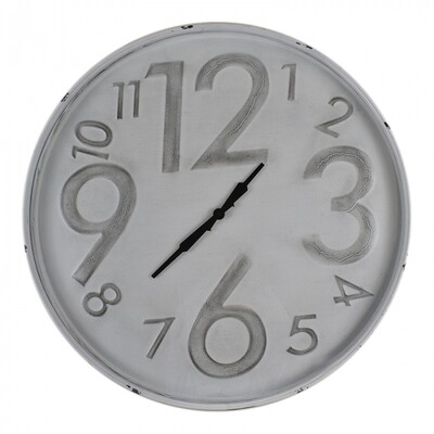 Clock Grey Embossed Numbers 80cm