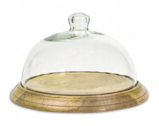 Cheese Platter Mango Wood with Glass Lid