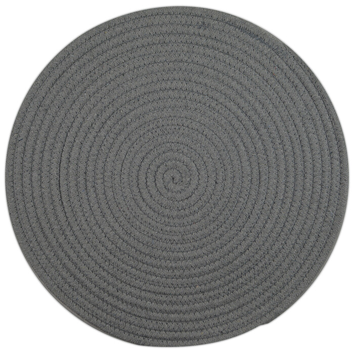 Round Woven Cotton Placemat Light Grey
