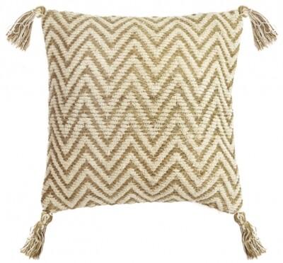 Cotton/Chenille Herringbone Cushion Beige and Cream